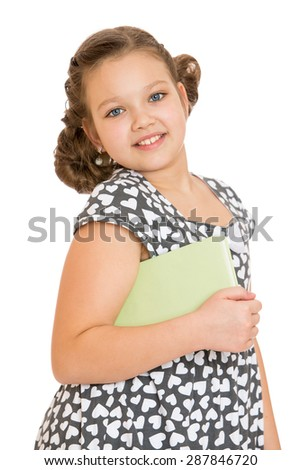 Beautiful girl school girl in gray dress holds the mouse tutorial , close-up-isolated on white background - stock photo