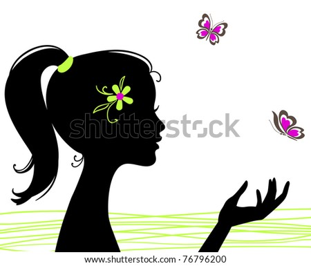 beautiful girl silhouette with butterfly - stock photo