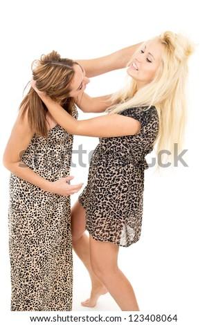 beautiful girl sisters swear and fight - stock photo