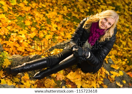 Beautiful girl sitting on a rock, autumn color leaves on the background, horizon format - stock photo