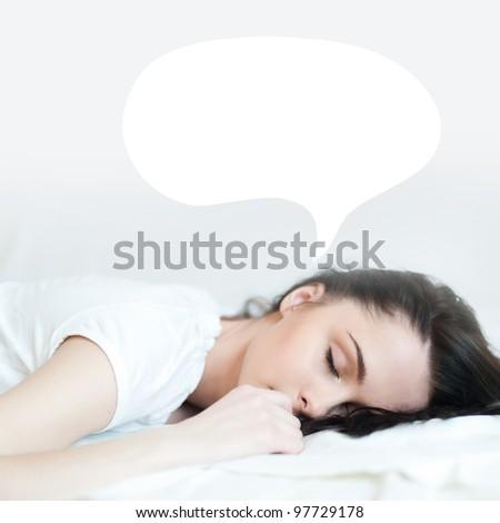 beautiful girl sleeping in bed. - stock photo