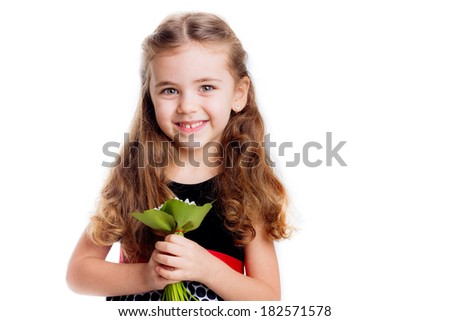 beautiful girl smiling and holding a bouquet of flowers. isolated on white background - stock photo