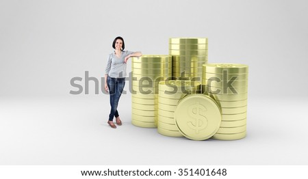 Beautiful girl stand with a many gold coins