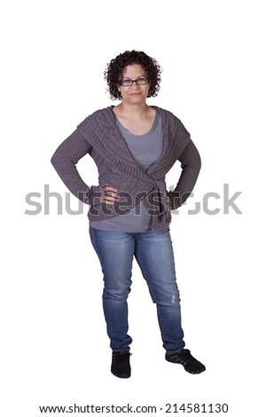 Beautiful Girl Standing Up on an Isolated Background - stock photo
