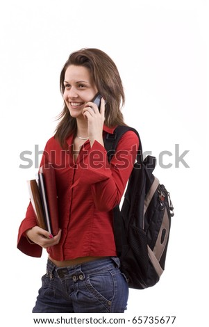 Beautiful girl student making a phone call isolated on white - stock photo