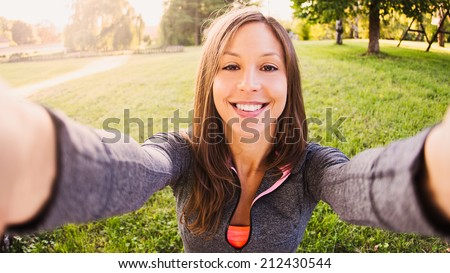 Beautiful girl taken pictures of her self,  - stock photo