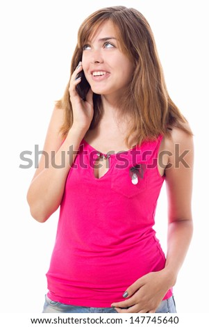 beautiful girl talking to someone on mobile phone - stock photo
