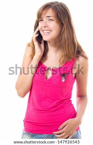beautiful girl talking to someone on mobile phone