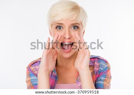 beautiful girl tells everyone the good news - stock photo