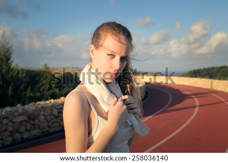 Beautiful girl training  - stock photo