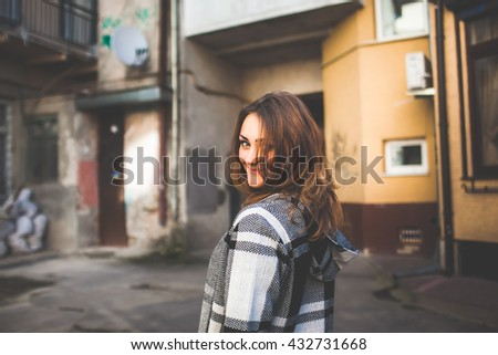 beautiful girl walking city - stock photo