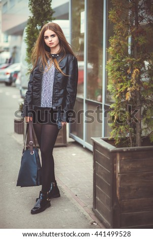 beautiful girl walking city