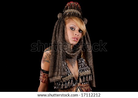 beautiful girl,wearing a traditionnal costume - stock photo
