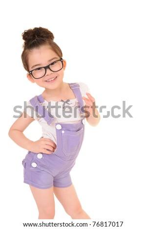Beautiful girl wearing glasses isolated on white - stock photo