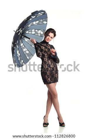 beautiful girl with a big umbrella - stock photo