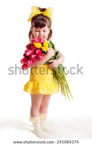 beautiful girl with a bouquet of tulips. Mother's Day, March 8, International Women's Day. isolated - stock photo