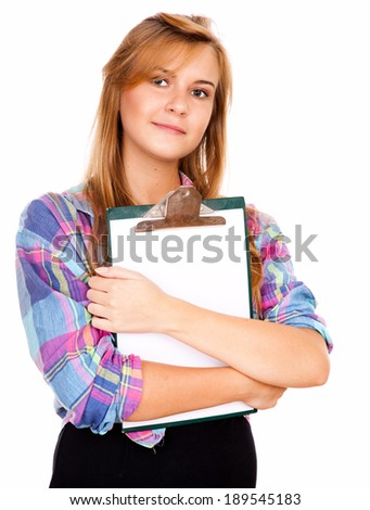 beautiful girl with a clipboard, white background