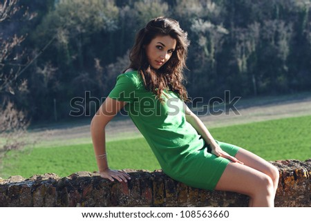 beautiful girl with a green dress sitting on the fence - stock photo