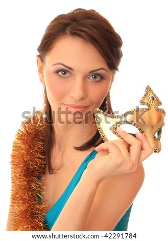 Beautiful girl with a masquerade mask. - stock photo