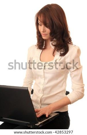 Beautiful girl with a notebook. - stock photo