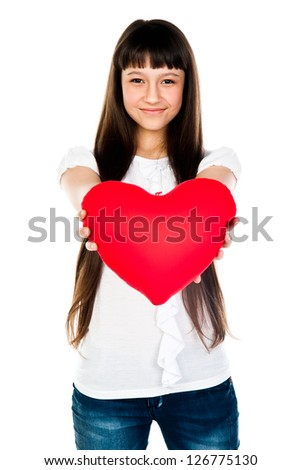 beautiful girl with a teddy heart
