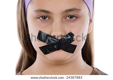 Beautiful girl with adhesive on her mouth isolated over white - stock photo