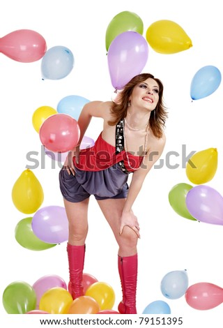 Beautiful girl with balloon. Isolated.