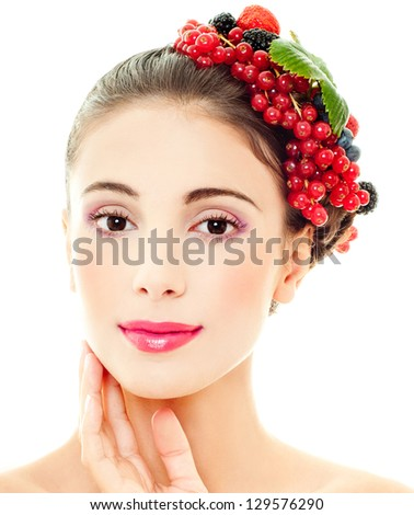 beautiful girl with berries - stock photo