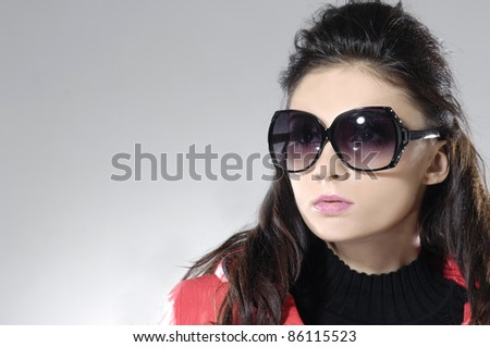 beautiful girl with black glasses-close up
