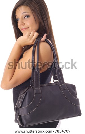 beautiful girl with black purse