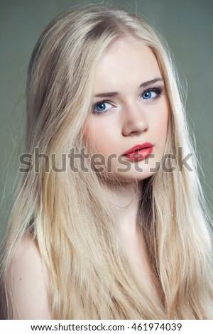 beautiful girl blue eyes long blonde stock photo royalty