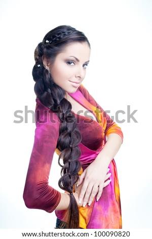Beautiful girl with braided hair - stock photo
