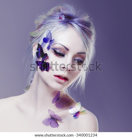 Beautiful Girl With  Butterfly. Beauty Face. Creative Make up and Hair Style. portrait with toning