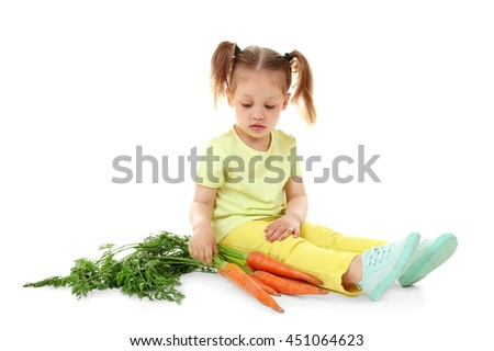 Beautiful girl with carrots, isolated on white