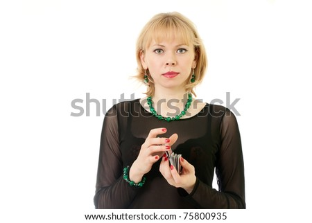 Beautiful girl with cart on a white background - stock photo