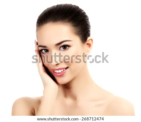 Beautiful girl with clean fresh skin, white background - stock photo
