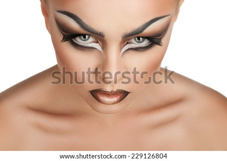 beautiful girl with creative make-up, beauty portrait