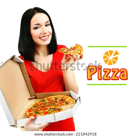 Beautiful girl with delicious pizza in pizza box isolated on white - stock photo