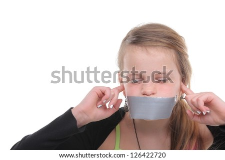 Beautiful girl with duct tape and covering her ears