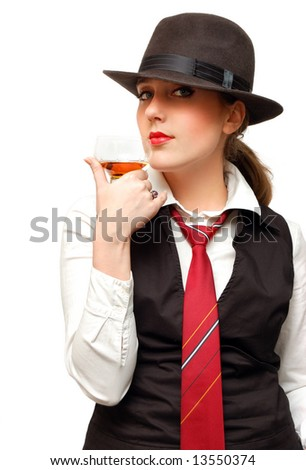 Beautiful girl with goblet isolated over a white background - stock photo