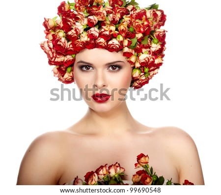 Beautiful girl with hairstyle of rose flowers
