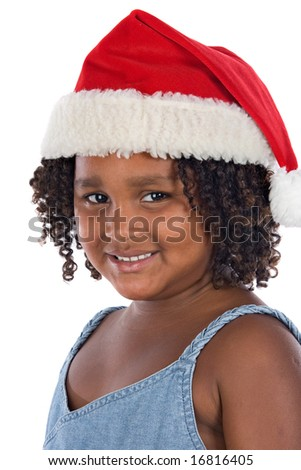 Beautiful girl with hat of Santa Claus a over white background - stock photo