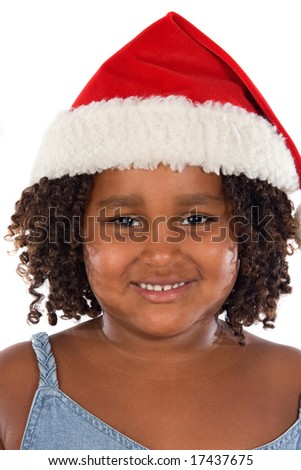 Beautiful girl with hat of Santa Claus a over white background