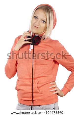 beautiful girl with headphones isolated stands - stock photo