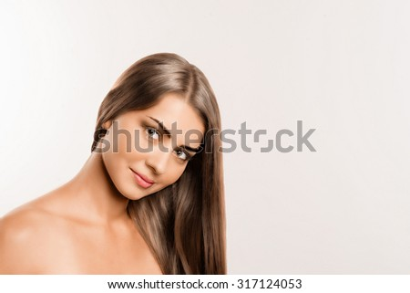 beautiful girl with healthy hair on white background
