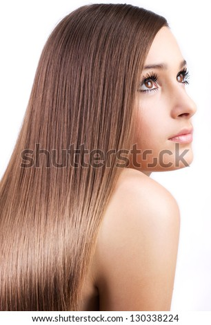 beautiful girl with healthy long hair isolated on white background - stock photo