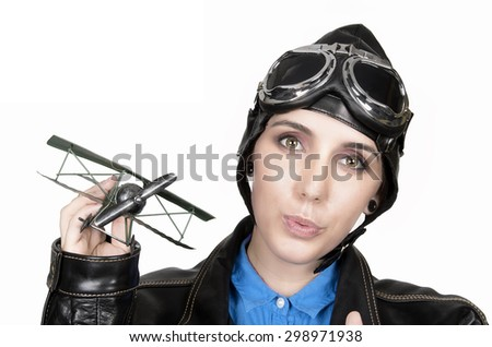 Beautiful girl with helmet and goggles on white background - stock photo