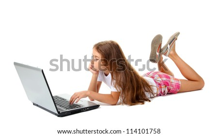 beautiful girl with laptop isolated on white