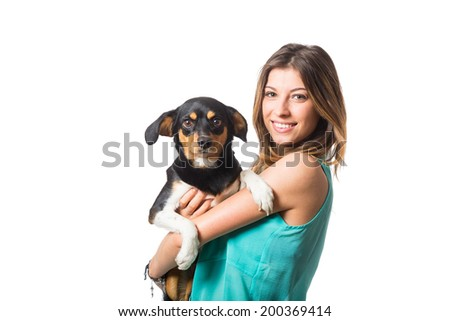 Beautiful Girl with Little Dog - stock photo
