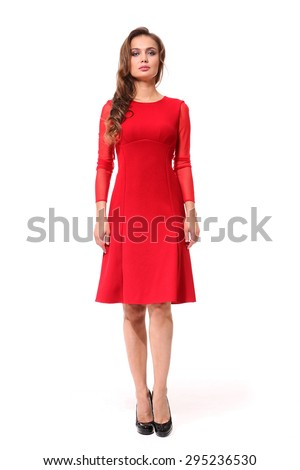 beautiful girl with long brown hair in red dress isolated on white - stock photo